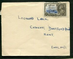 1935 Silver Jubilee Gold Coast 1d on a correct rate cover to England