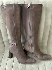 Prada Brown Nubuck Leather Printed Knee High Boots Women Size 36.5 6.5
