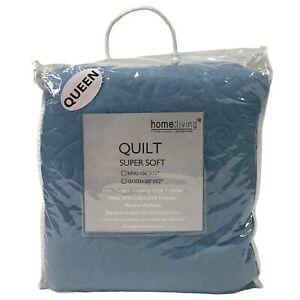 """Home Living Hand Crafted Super Soft Lightweight Quilt Queen 88""""x92"""" Light Blue"""