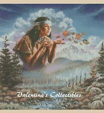 Cross Stitch Chart NATIVE AMERICAN GIRL Blowing Fall Leaves -  No. 3-277