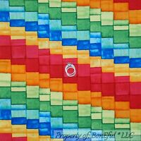 BonEful Fabric FQ Cotton Quilt Rainbow Red Blue Yellow Orange Green Block Stripe