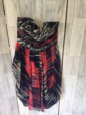Karen Millen Purple Multi Strapless Silk Dress Detatchable Straps Sz8/36
