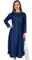 Bimba Women Button Down Denim Blue Kurta Kurti Long Sleeves Casual Tunic Blouse