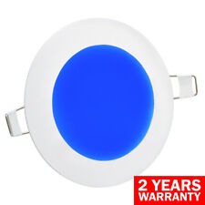 6W LED BLUE Round Recessed Ceiling Flat Panel Down Light Ultra Slim Blue 120mm