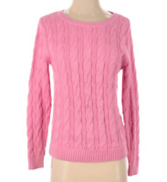 Lands' End Women's Pink Cable Knit Crew Neck Sweater, Small 6-8