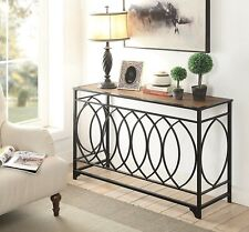 Rustic Console Table Furniture Vintage Accent Brown Entryway Hallway Metal Sofa
