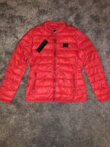 KARL LAGERFELD Genuine Woman Red Down Jacket Size L Large BNWT