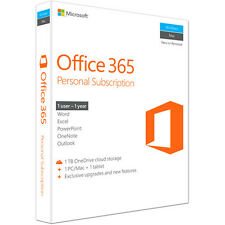Microsoft Office 365 Personal 1 Year Subscription for 1 User PC/Mac +1 Tablet