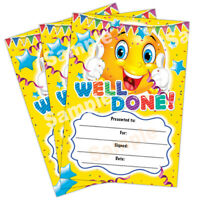 Well Done Certificate, A6 Pack of 20, Ideal for Nurseries Schools Kids Clubs