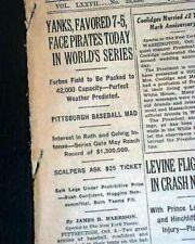 Best NEW YORK YANKEES World Series of Baseball Opening Day Game 1 1927 Newspaper
