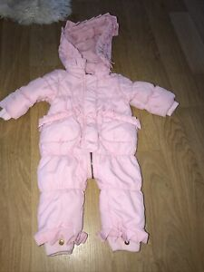 Juicy Couture 6/9m Pink Hooded Snowsuit With Ruffles