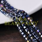 25pcs 6mm Cube Square Faceted Crystal Glass Loose Spacer Beads Black AB