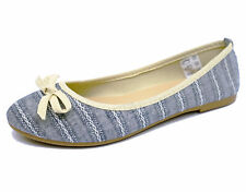 LADIES FLAT SLIP-ON DOLLY COMFY BALLET BALLERINA PUMPS WORK GIRLS SHOES UK 3-9