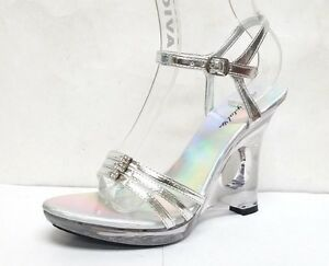 "WOMEN'S SILVER CLEAR LUCITE BRIDAL RHINESTONES ANKLE STRAP 5""  WEDGE DRESSY SHOE"