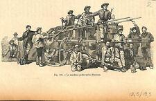 Perforatrice de Ferroux Alpes tunnel Massif du Saint-Gothard Suisse GRAVURE 1884