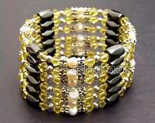 SALE 4-5mm White Natural Pearl and Yellow Crystal & Hematite 36'' Bracelet-br363