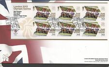 GB 2012 Official FDC Olympics Sheetlet 4th aug Alex Gregory ET AL 6 stamps