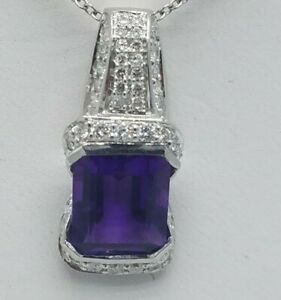 4.85 CARAT DIAMOND AND AMETHYST PENDANT 18KT WHITE GOLD