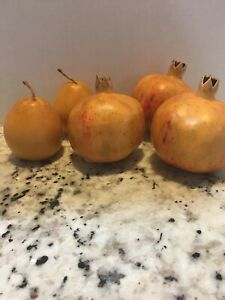 Three Large Artificial Pomegranates And Two Pears