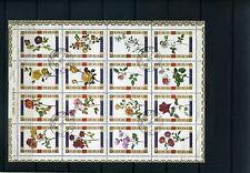 FLOWERS OF UMM AL QIWAIN , SOUVENIR SHEET {16 stamps}cancelations  1970s