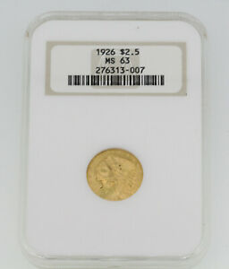 1926 $2.5 Indian Head Gold Coin NGC Grade MS 63