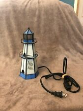 Stained Glass Look Lighthouse Lamp with Bible Verse 2 Samuel 22:29