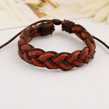 Leather Rope Bracelet.Brown Black  Wristband Viking/Celtic Knot Norse.Adjustable
