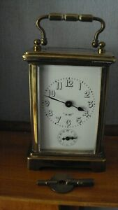 FRENCH BRASS CARRIAGE / ALARM 8 DAY CLOCK BY JUST IN GOOD WORKING ORDER + KEY