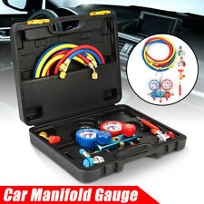 A/C R134A Refrigerant Car Auto Manifold Gauge Set Charging Hose Quick Coupler