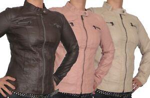 ONLY Damen PU Lederjacke Bandit Übergangsjacke Bikerjacke Braun Rose Beige