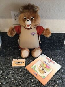 Vintage Teddy Ruxpin Bear Doll 1985 + Book & Tape, Cassette Plays & Mouth Moves