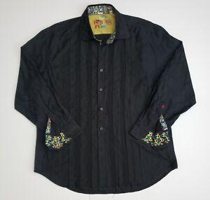 Robert Graham Men's Long Sleeve Sz 3XL Embossed Dress Shirt Citton RN#81913