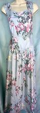 Vtg LANZ ORIGINALS M L Pink Blue Green Floral Swing Garden Party DRESS Big Bow