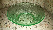 VINTAGE GREEN DEPRESSION GLASS CANDY / SERVING DISH / BOWL RAISED TRIANGLE