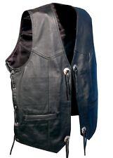 Men's Real Leather Waistcoat Motorcycle Biker Concho Black Gillet - UK SELLER