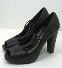 """Women's Simply Vera Vera Wang Black Leather Size 10 M Buckle Strap 5"""" Heel Shoes"""