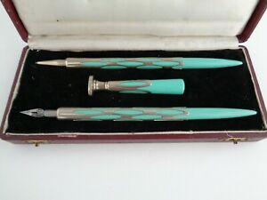 Art Deco Bakelite & Alpacca Silver Writing Set - Pen, Pencil & Seal