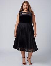 Lane Bryant Plus Black VELVET Pleated Midi Lace Cocktail Wedding Dress 26 4X NWT