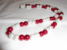 Hand Made Ladies Jewellery Cherry Red & White Glass Pearl Gift Necklace -21