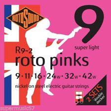 Double Rotosound R9-2 Decker Roto Pinks Cordes pour guitare électrique 09-42 2 ensembles