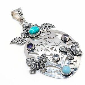 "Tibetan Turquoise, Larimar 925 Sterling Silver Jewelry Pendant 3.55"" J823"