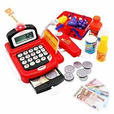 Cash Register Till Toys Kids with Scanner Electronic Calculator Play Money
