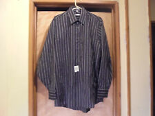 N.W.T.-GEOFFREY BEENE LONG SLEEVE BUTTON FRONT STRIPED SHIRT-LARGE-16-(34/35)-