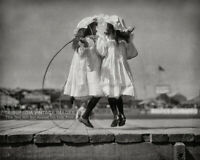 VINTAGE 1900s PHOTO Girls Playing Jump Rope EDWARDIAN ERA Fancy Dress Twins 8x10