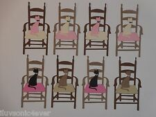 "8 kitty cat sitting on a chair 3 1/4"" tall  die cuts"