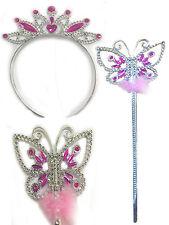 Butterfly Headband & Wand Set Princess Feather Trim Fairy Dress Up