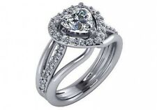 1.5 ct EGL I VS2 heart shape round diamond halo engagement anniversary ring gold