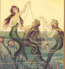 Chiostri Mermaids Playing With Pearls;Sea Life,Large Blank Greeting Art Card