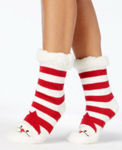 F35 Charter Club Women's Christmas Holiday Slipper Socks with Fleece & Grippers