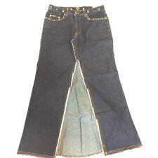 XOXO 9/10 Actual W34 L38 Boho Chic Long Denim Jean Skirt CUt Out Front Slit USA